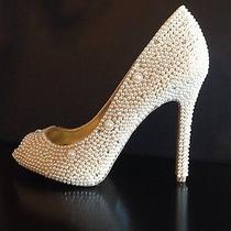 Handmade Pearl Rhinestone Swarovski Crystal Bridal Wedding/prom Shoes Photo