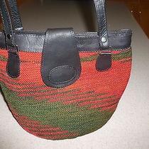 Handmade Woven & Leather Bag Handbag Purse Small Hobo Round Bottom Tote Photo