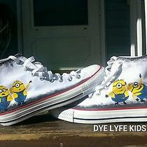Handpainted Minion Custom White Converse Chucks 6.5 Men 8 Women Sneakers Shoes Photo