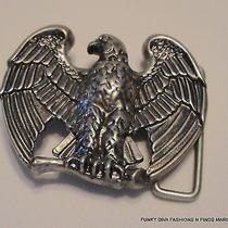 Handsome Vintage Avon American Eagle Patriotic Belt Buckle Silvertone Metal  Photo