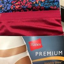 Hanes Womens Panties Bikinis Invisible Shine Redish Pink Floral Premium Sz 5-9 Photo