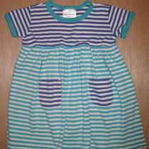 Hanna Andersson Play Dress Aqua/blue Stripe 1-2 Years 80 Mint Condition Photo