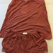 Hanro Uptown Tank Cami Shirt Short Pajama S Nwt 7837 Blush Pink Lace Lyocel New Photo