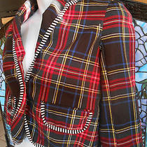 Harajuku Lovers Mini Jacket Girls 10-12 Shorty Red Plaid Black & White Size L Photo