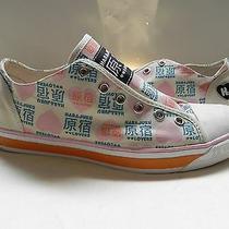 Harajuku Loversnewbeige W/ Blue & Pink Hearts Sneaker Tennis Shoes Sz 7.5 Nwob Photo