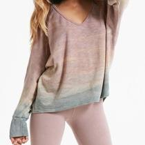 Hard Tail New Pink Womens Size Medium M v-Neck Dip-Dyed Sweatshirt 120 190 Photo