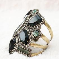 Hard to Find- Badgley Mischka Geometric Crystal Antique Brass Cuff Bracelet Photo