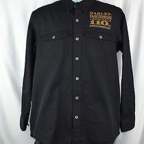 Harley-Davidson 110 Anniversary Men's Black L/s Button Front Shirt M G89b Photo