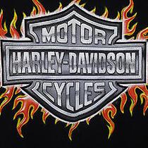 Harley Davidson Black Harley Flames T Shirt Kids Size Small S Motorcycle  Bike Photo