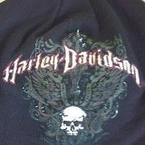 Harley Davidson Black  Hat Beanie Style With Skull on Front One Size Photo