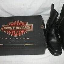 Harley Davidson Black Leather Motorcycle Harness Ankle Chain Boots Size 8.5 Photo