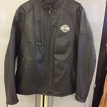 Harley Davidson Black Leather Motorcycle Jacket Sz 2w Photo
