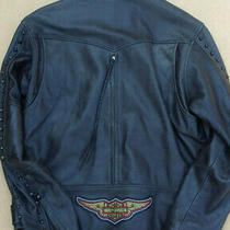 Harley Davidson Distressed Leather Jacket - Zippered Air Flow  Mens Large L Dyna Photo