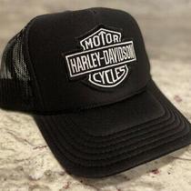Harley Davidson Gray Black Cap Hat 5 Panel High Crown Trucker Snapback Vintage Photo
