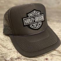 Harley Davidson Gray Logo Cap Hat 5 Panel High Crown Trucker Snapback Vintage Photo