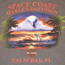 Harley Davidson Hd Mens T-Shirt Xlarge Xl Brown Motorcycle Palm Bay Fl Dolphin  Photo