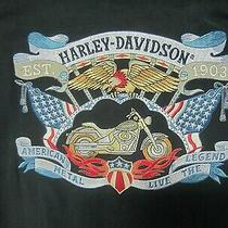 Harley Davidson Ladies 100% Silk Gray Ss Top-Embroidered on Back-Size 4 Photo