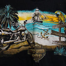 Harley Davidson Mens Shirt (L ) Grand Cayman b.w.i. Hell This Way Pirate Ship Photo