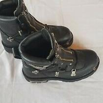 Harley Davidson Mens Size 8 Break Light Double Zipper Black Motorcycle Boots Photo