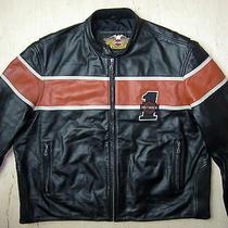Harley Davidson Motorcycle Bike Leather Lined Jacket Size Xxxl  Photo