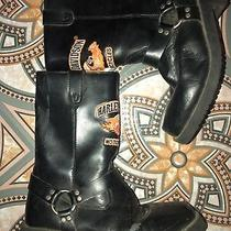 Harley Davidson Motorcycle Size 3 Youth Black Biker Boots Patch Photo