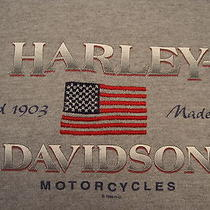 Harley Davidson Motorcycle Tulsa Ok Grey 90/10 No-Collar Polo Embroiderd Shirt M Photo