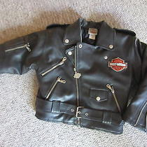Harley Davidson Motorcycles Faux Leather Insulated Jacket Boys 6 Vguc Photo