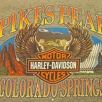 Harley Davidson Motorcycles Mens Medium T-Shirt Pikes Peak Colorado Springs Bike Photo