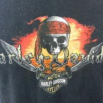 Harley Davidson Motorcycles Pirate Santa Maria Black T-Shirt Medium Photo