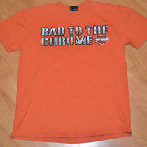 Harley Davidson Motorcycles T Shirt Medium Evansville in Bad to the Chrome Nice Photo