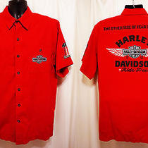 Harley Davidson Motorcyles Ride Free Other Side of Fear Is Courage L Dress Shirt Photo