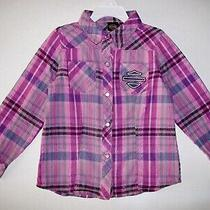 Harley Davidson Pink Plaid Pearl Snap Western Cowgirl Shirt Girls Size 4-5 Euc Photo