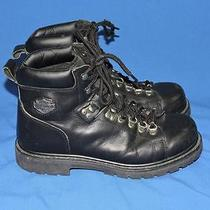 Harley Davidson Size 10 Mens Black Leather Motorcycle Riding Boots Lace Up Eu 43 Photo