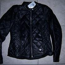 Harley Davidson Small Vogue Black Quilted Soft Lamb Leather Jacket 97093-12vw S Photo