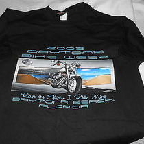 Harley Davidson Sz M Logo Shirt 2002 Daytona Rain or Shine Bike Week  Florida Photo
