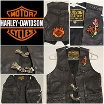 Harley Davidson Vest Pink Flower Lady Harley Sz 36 Hudson Leather Black  Photo