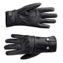 Harley Davidson Woman's Perforated Leather Full Finger Gloves Xl 97292-12vw New Photo