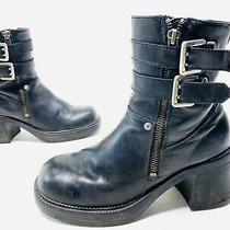 Harley Davidson Womens Black Leather Biker Boots W/ Buckles - Size 7 - 84384 Photo