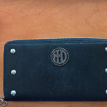 Harley-Davidson Women's Crystal Leather 7 In. Zip Around Clutch Wallet Black Photo