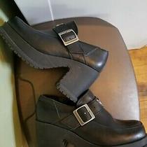 Harley Davidson Women's Shoes Platform Black Leather Buckle Size 7 Uk 5 Eur 38 Photo