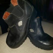 Harley Davidson Women's Size 6.5 Slip on Shoes Boots Black Leather Oil Resistant Photo