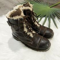 Harley Davidson Womens Boots Size 8 Brown Leather Lace-Up Zip Fur Lined 85341 Photo