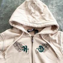 Harley Davidson Womens Embroidered Hoodie Sweatshirt Size M Tan  Photo