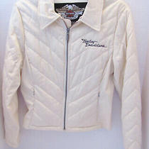 Harley Davidson Womens Sz Xs Cream Color Quilted Jacket - Excellent Used  Photo