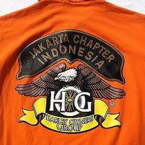Harley Owners Group Men's Polo Shirt Orange Jakarta Chapter Indonesia Size Large Photo