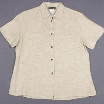 Harve Benard Size M 8 10 Taupe Heathered Linen Shirt Top Blouse Photo