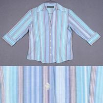 Harve Benard Size S 4 6 Aqua Blue White Floral Cotton Shirt Top Blouse Photo