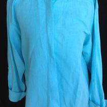 Harve Bernard Linen/cotton Aqua Shirt Xl Long Sleeve Ladies Top Jacket Tunic 1x Photo