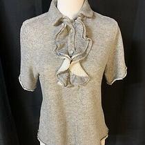 Harvey Faircloth Gray Short-Sleeve Ruffle Sweatshirt Top Shirt Size 4 Photo
