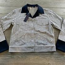 Harvey Faircloth Jacket Womens Size Xs Blue White Stripe Denim  Trim Casual Photo
